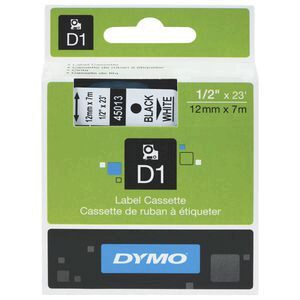 DYMO D1 Label Cassette, 12mm x 7m - White on Black