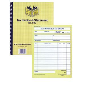 spirax tax invoice and statement book no 500 officeworks