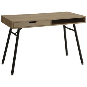 bergen home office and study desk 1100mm oak black officeworks