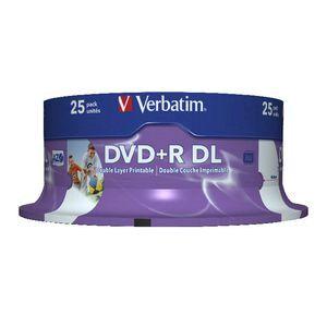 Verbatim DVD R DL 85GB 8x White Wide Inkjet Spindle 25 Pack