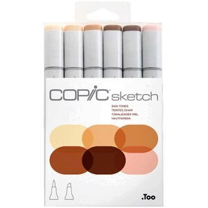 Copic Sketch Marker Set Skin Tones 6 Pack