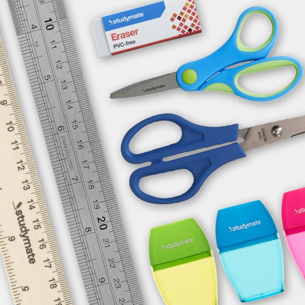 Officeworks back to school 2020 - Sharpeners, Erasers, scissors & rulers