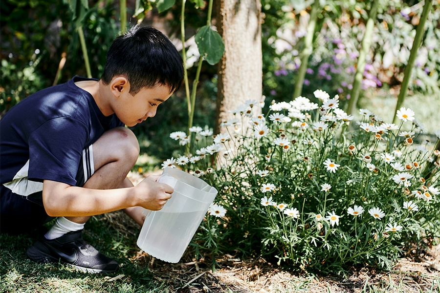 Young boy watering flowers for real world STEM education