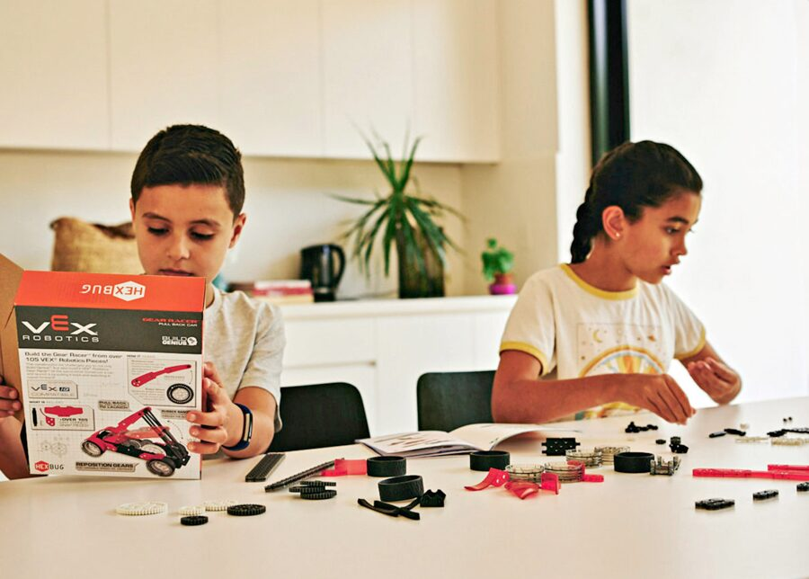 Kids playing with STEM robotics kit