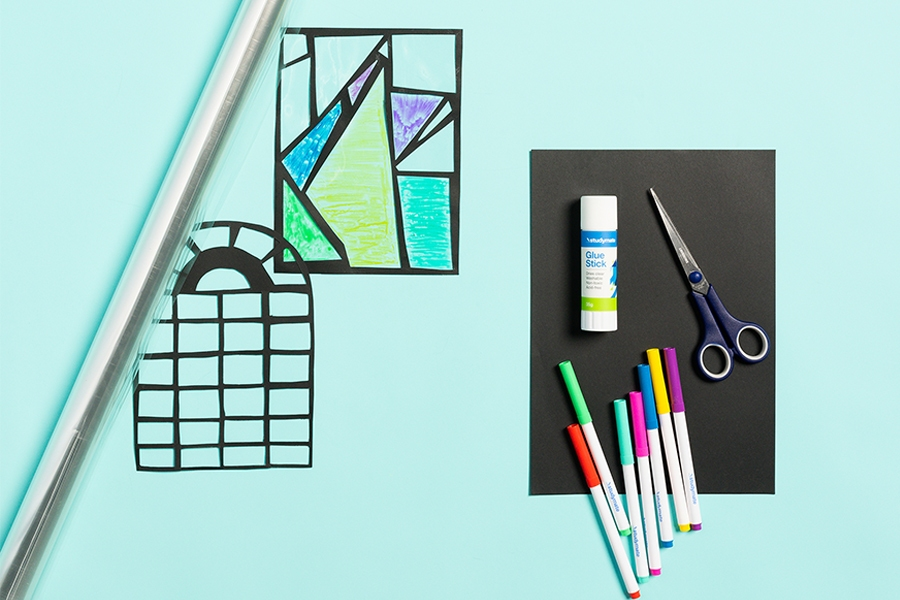 Officeworks kids craft materials for stained glass window craft project