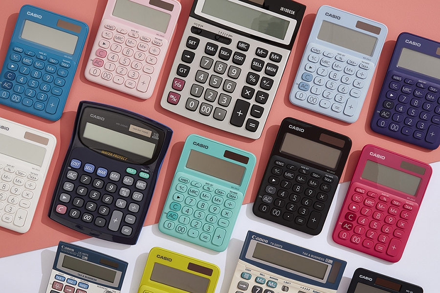 Officeworks calculator range includes scientific and simple models from Casio and Canon.