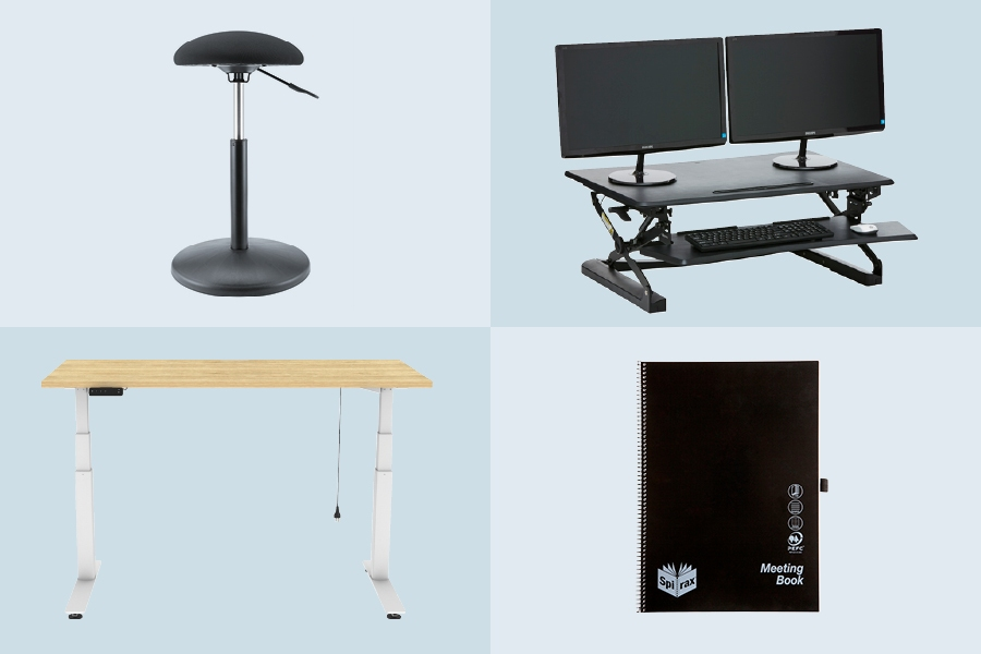 Use Officeworks standing desks and stand up meetings to improve office productivity.