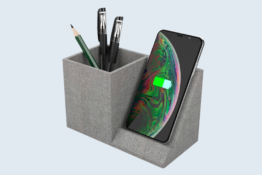 The Comsol desk organiser has a wireless charger that works with any Qi-enabled device.