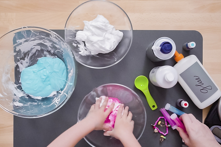 Have fun making slime with kids at home as a simple sensory STEM activity