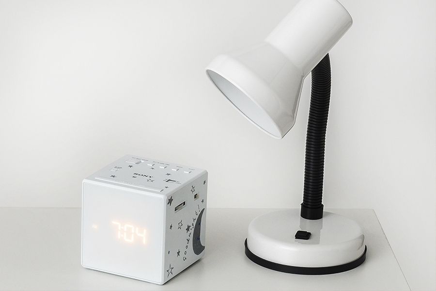 Officeworks white lamp and alarm clock
