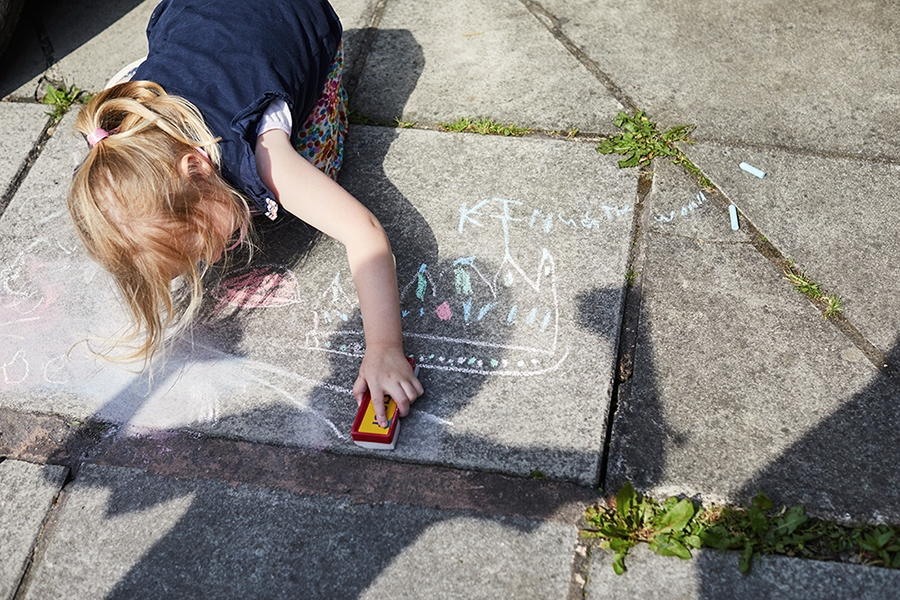 Chalk art is a fun and easy way to keep kids entertained during isolation