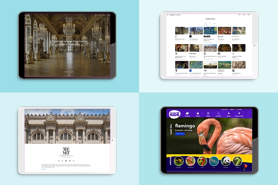 The Louvre, Google Arts & Culture, The Met and San Diego Zoo all have virtual tours online.