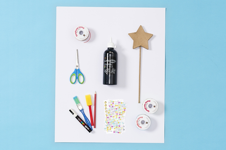 Art and craft supplies for kids to make and decorate a DIY crown and wand.