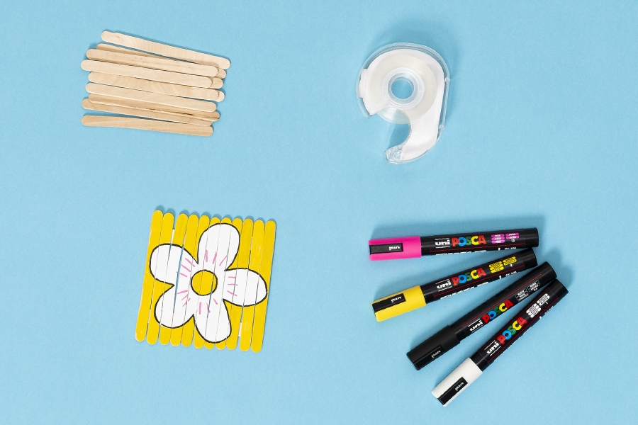 Kids craft ideas using paddle pop sticks: A DIY puzzle game to draw and play with