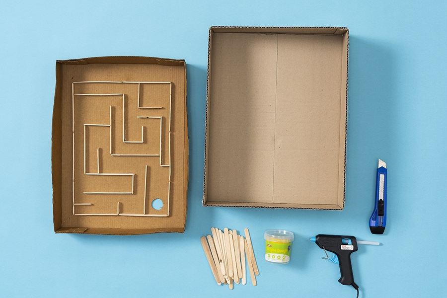 Fun and easy kids craft ideas made using a cardboard box and paddle pop sticks