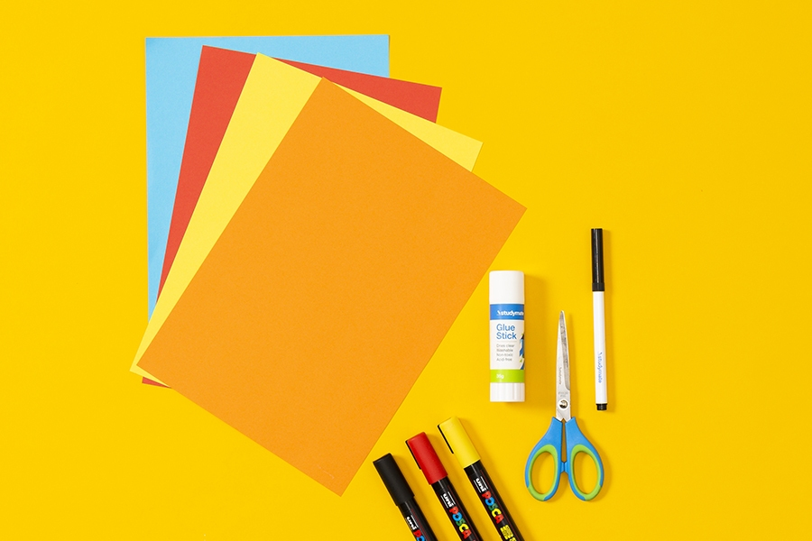 Craft supplies you need to make a DIY Father's Day card with the kids.