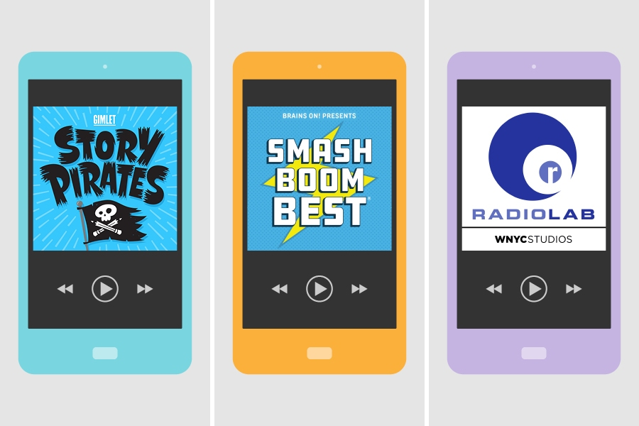 Top podcasts for kids include popular shows such as Smash Boom Best and Story Pirates.
