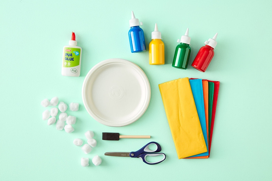 What you need for easy kids paper plate crafts: make a rainbow
