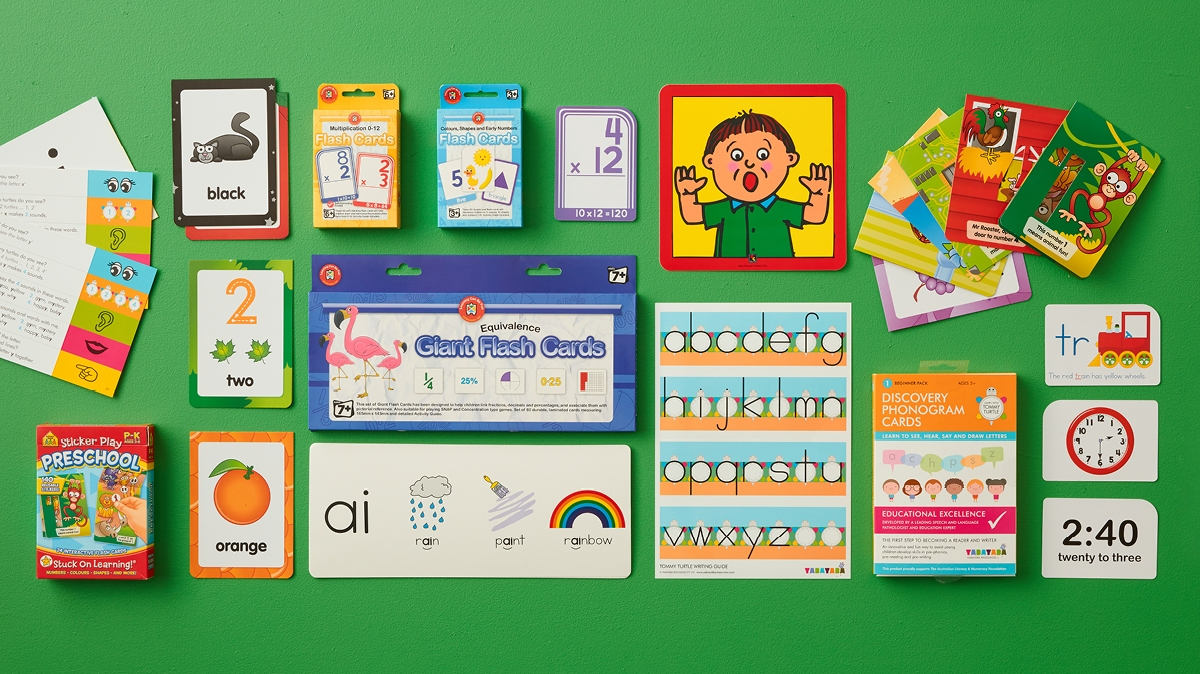 A range of the best educational resources and flashcards for kids from Officeworks.