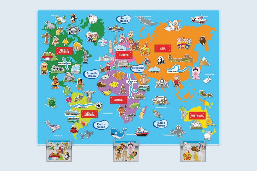 A world map is an example of great classroom educational supplies for teaching primary school kids.