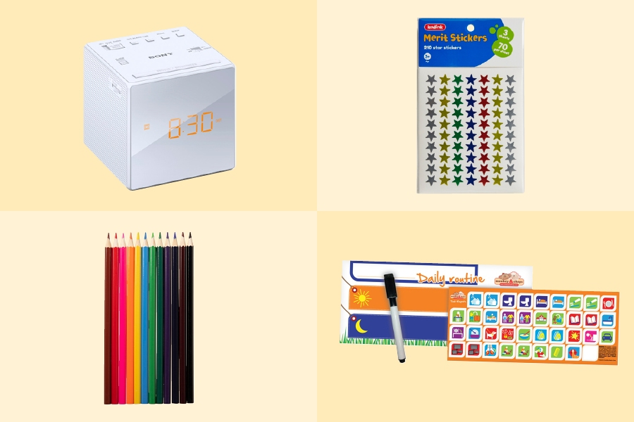 Use fun stickers and art supplies to create a colourful routine chart for your kids to follow.