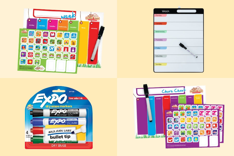 Use stickers and markers to help your kids create a fun routine chart to follow at home.