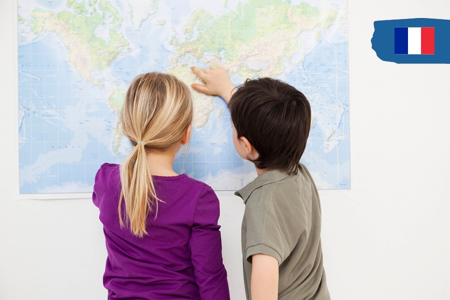 Kids can travel the world from home by finding places on a map.