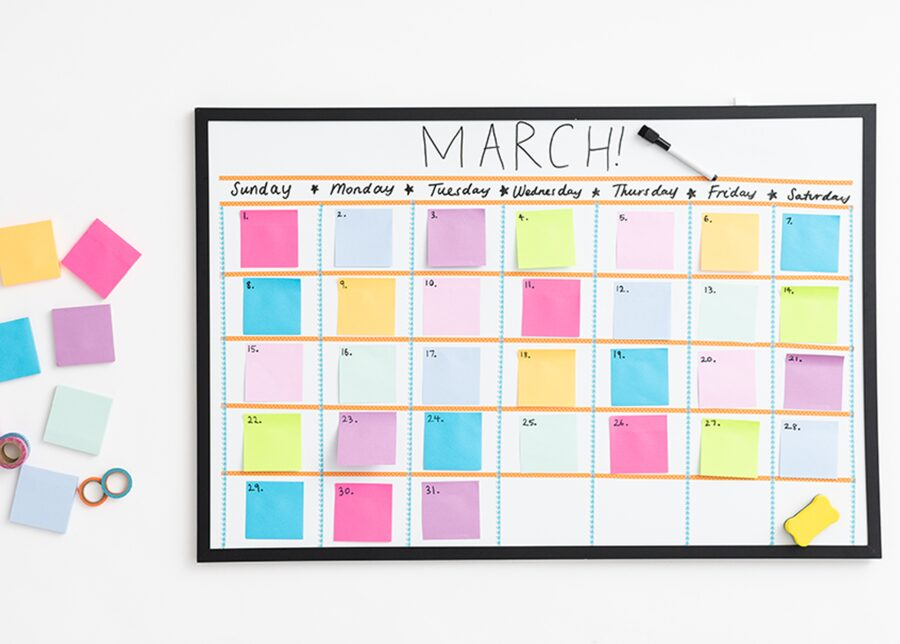 DIY whiteboard post it sticky note calendar wall