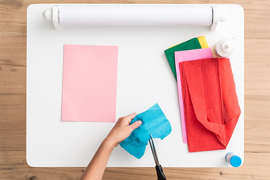 Mother's Day card crafting project with crepe paper
