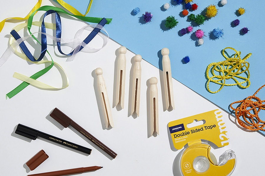 Art and craft materials for kids: peg people