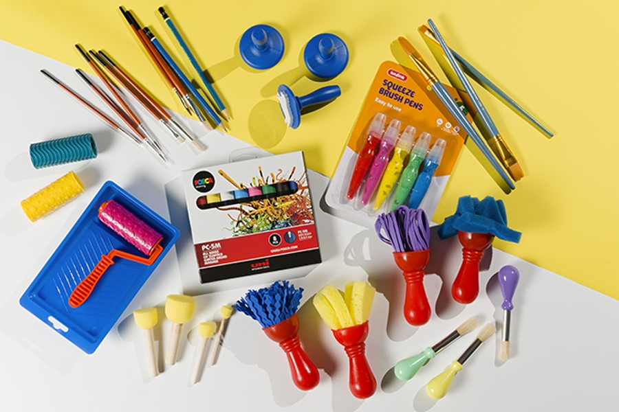 Officeworks kids paint brushes, rollers and sponges