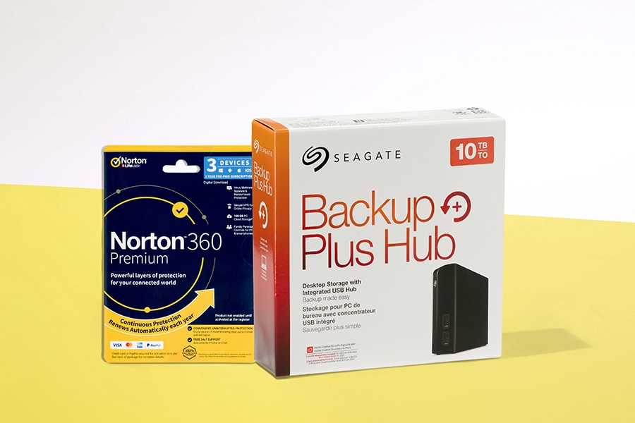Norton 360 Premium Security and Seagate external hard drive