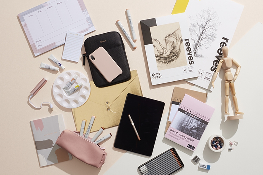 Officeworks pink and gold desk accessories bring personality into the office