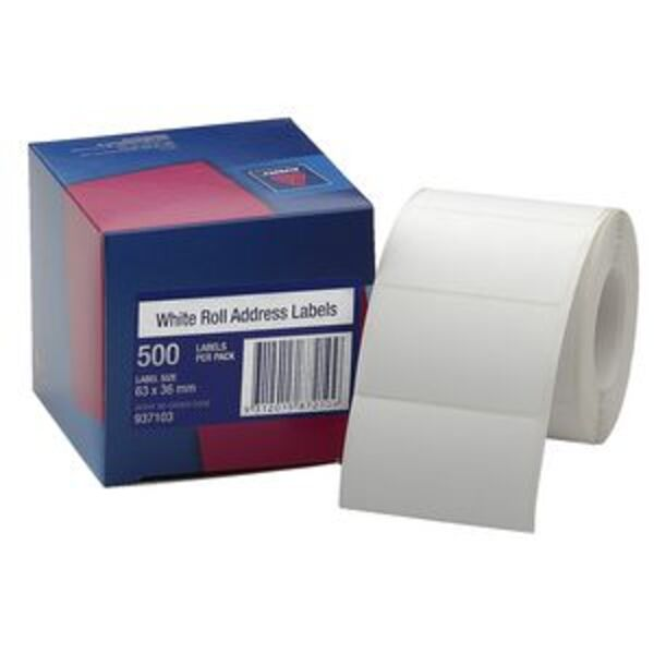 Avery Roll Address Labels 63 X 36mm White 500 Pack