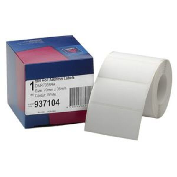 Avery Address Label Roll White 70 X 36mm 500 Labels