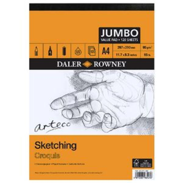 Daler-Rowney Arteco Sketch Jumbo Pad 95gsm 120 Sheets A4