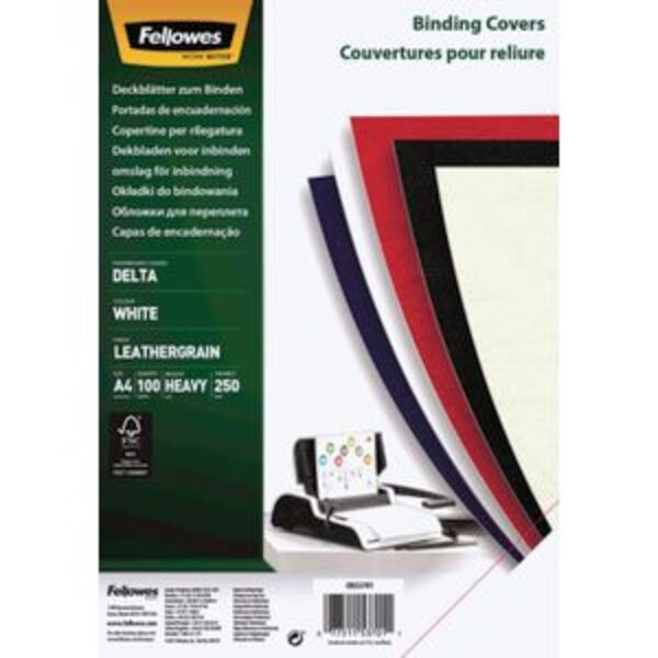 Fellowes Leatherboard Binding Covers A4 White 100 Pack