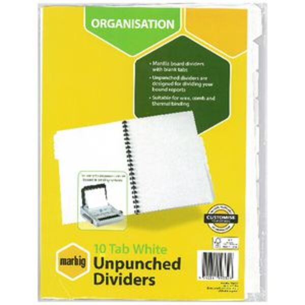 Marbig 10 Tab Unpunched Manila Dividers White